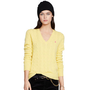 Yellow Merino Cashmere Cable Pony Sweater L